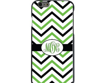 Hard Snap-On Case for Apple 5 5S SE 6 6S 7 Plus - CUSTOM Monogram - Any Colors - Black Green White Chevron Stripes