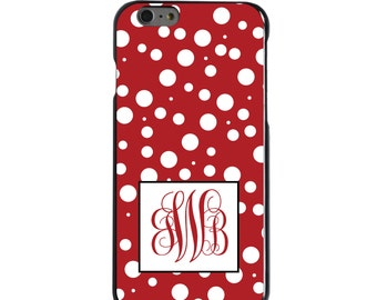 Hard Snap-On Case for Apple 5 5S SE 6 6S 7 Plus - CUSTOM Monogram - Any Colors - Red White Dots Red Initials