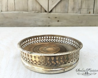Vintage Silver Wine Bottle Coaster, French Country Shabby Chic Farmhouse, English
