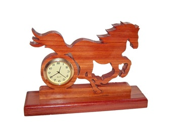 Galloping Horse, Wood Desk Clock, Home Decor, Decorative Clock, Horse Decor, Unique Clock, Keepsake Gift, Rustic, Gift Idea, Whimsical