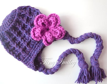 Earflap Baby Hat, Girl Earflap Hat, Purple Earflap Hat, Flower Earflap Hat, Purple Newborn Hat, Chunky Earflap Hat, Baby Girl Hat, Girl Hats