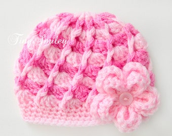 Pink Baby Girl Hat, Newborn Girl Hat, Infant Girl Hats, Crochet Hats Girl, Multicolore Girl Hat, Crochet Photo Props, Hospital Girl Hats