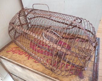Rustic Metal Rat Trap...Small Animal Cage
