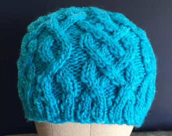 Turquoise Cabled Beanie