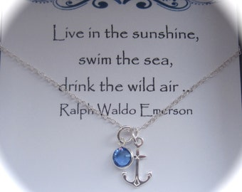 Sterling Silver Anchor and Coloured Birthstone Swarovski Crystal Necklace