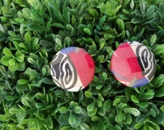 Zebra n' Such - Large Handmade Fabric Button Earrings