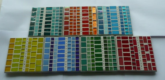 Line Up Mosaic Glass Coasters 7 available - Yellow, Orange, Red, Blue, Aqua, Green or Teal
