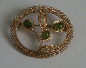 Filigree Floral Brooch With Green Stones. Green Flower Brooch.
