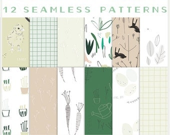 NEW - Spring Sprouts - JPG Files - Seamless Patterns - Digital Scrapbook - Paper Pack