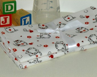 Flannel absorbent Kitty Cat Burp Cloth Set, baby burp cloths rags, baby shower gift, layette newborn supplies, flannel burp cloth