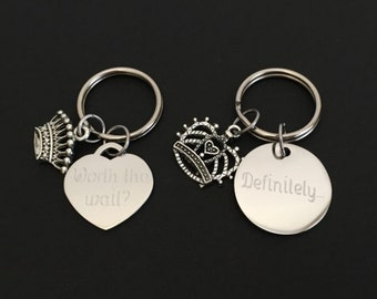Personalized Mr. & Mrs. Key Chain. Matching Stainless Steel Key Chains. Customized Couples Key Chains.Husband and Wife. Boyfriend Girlfriend