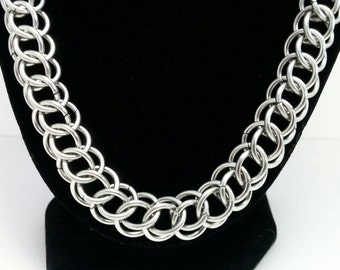 Half Persian 3-1 Chainmaille Necklace, Stainless Steel