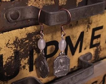 Vintage Religious Medal drop earrings