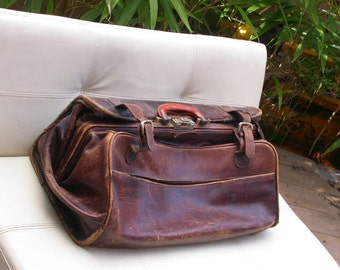 Large ART Nouveau French antique  huge bag suitcase   brown leather  luggage Travel Case Trunk Suitcase