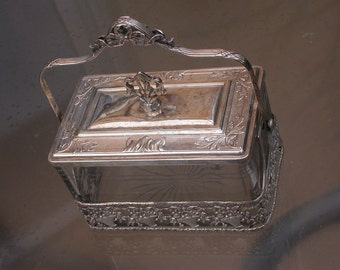 French antique 19th century Beveled Glass bronze silver Ormolu Biscuit Jar Box jewelry box blue silk
