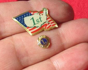 Lot  Of Retro American Flag Lions Club Embellishments