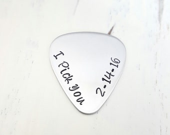 I pick you guitar pick custom hand stamped custom pick 22 guage gift for him