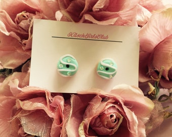 Mint Creme Bejewelled Donut Handmade Polymer Clay Stud Earrings