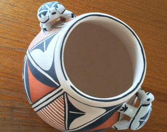 Vintage Cochiti Pueblo Pottery Bowl With 2 Turtles by Elizabeth Trujillo
