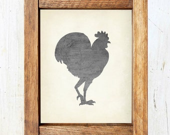 Rooster Silhouette Print