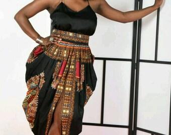 Dashiki Harem Skirt-Black