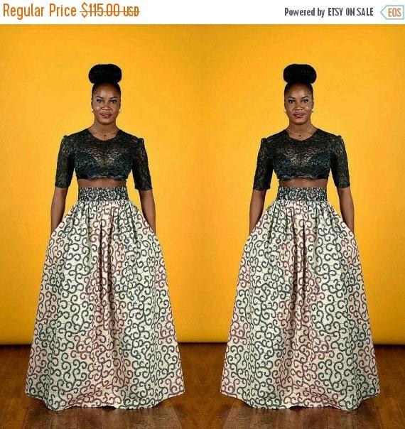 SUMMER SALE Royal  African print- Maxi Skirt.