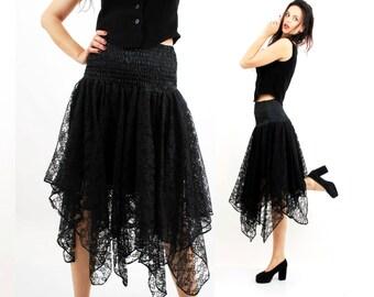 REGGAE Skirt /  Black Lace Skirt / Goth Skirt / Asymetric Skirt / Witch Skirt /  Size S / M