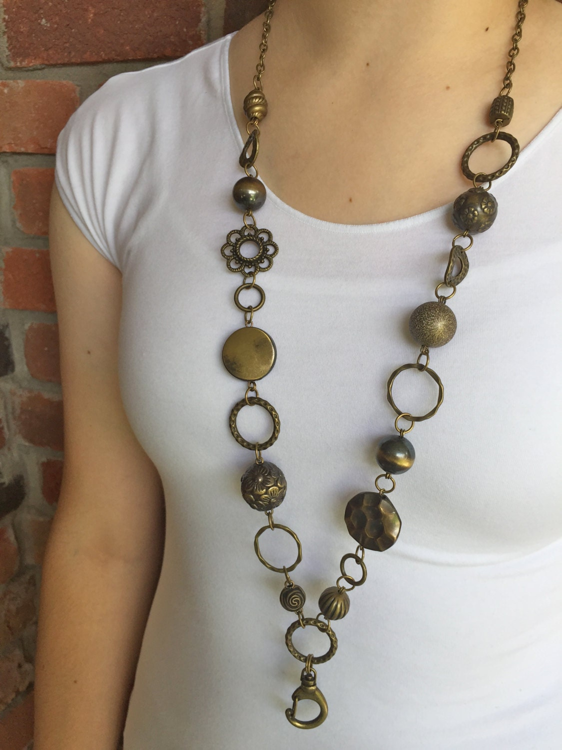 chunky antique bronze lanyard necklace