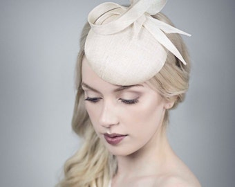 Natural Straw Wedding Hat, Bridal Fascinator with Optional Birdcage Veil - Luca