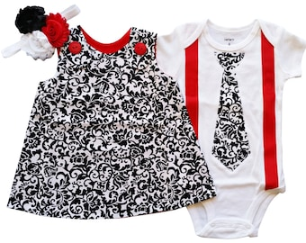 Matching Brother Sister Boy Girl Twin-Rose & Ross - Build a Set (black, white and red)[ALTORR]