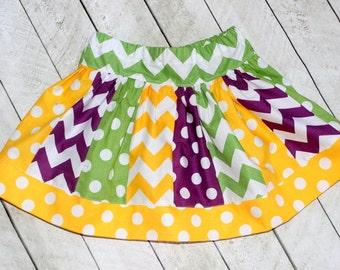 Girls skirt yellow purple green chevron and polka dot skirt chevron skirt Tinkerbell birthday skirt fall skirt summer skirt back to school