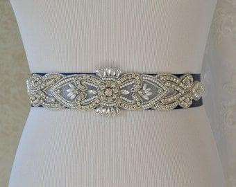 Navy Blue Wedding Sash- Bridal Sash- Off White Pearls And Crystal Rhinestone Belt