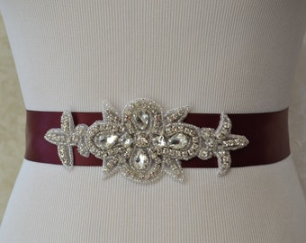 Wedding Bridal -Sash Belt -Bridesmaids Sash-  Crystal Rhinestone Beaded Appliqué -Burgundy Belt