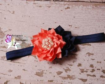 Sunset Navy Blue Coral Poinsettia Flower Pearl Rhinestone Headband, Baby Girl Toddler Woman - SB-117