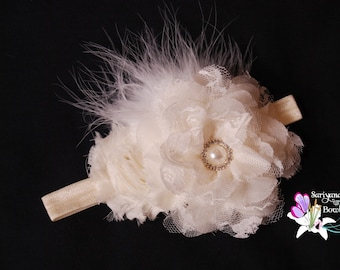 Ivory Flower Feather Rhinestone Headband, Vintage Headband, Flower Girl Headband - SB-001I