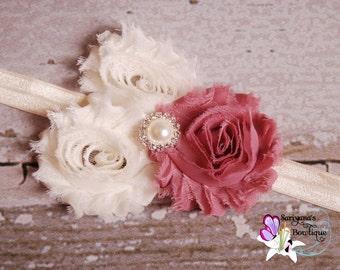 Trio Dusty Rose Ivory Shabby Flower Pearl Rhinestone Headband - Baby Toddler Girl - Vintage Headband - SB-010F