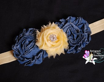 Denim Pastel Yellow Shabby Flower Rhinestone Headband, Jean Headband - Baby Toddler Girl Woman - SB-068
