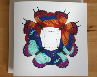 Blue and orange butterfly card