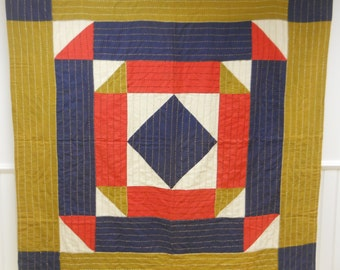 """Reduced Price!  Bold!  Vintage African American """"Medallian"""" Quilt.  From Texas."""