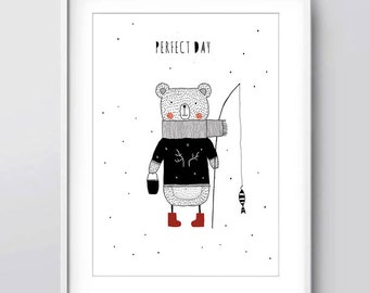 Printable Nursery Art, Perfect Day, Kids Room Art, Bear Illustration