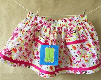 Floral Print Skirt with Front Pocket Detail