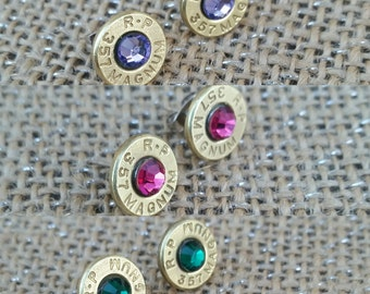 Bullet earrings. Nikel free. Many gemstone colors and calibers available.