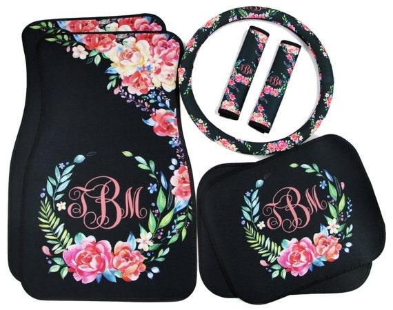 classy black floral car accessories mix  u0026 match car floor mats