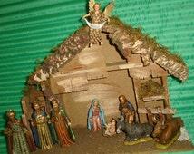 VTG CHRISTMAS NATIVITY Set Manger Italy Landi Mary Joseph Baby Jesus Creche Stable 3 Wise Men Collectible