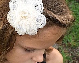 Cream Lace Flower Hair Clip