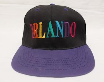 """Rare 90's Vintage """"ORLANDO"""" Multi Color Vacation Original SnapBack"""