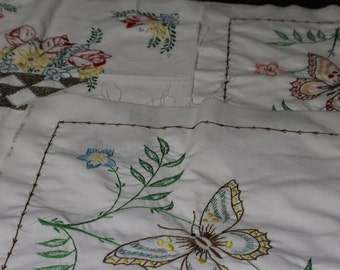 "Hand Embroidered Quilt Blocks, 18"" Quilt Blocks Embroidered 4 Total"