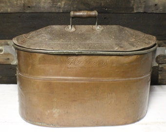Vintage Copper Boiler with Lid, Behren's Copper Tub with Lid and Wood Handles
