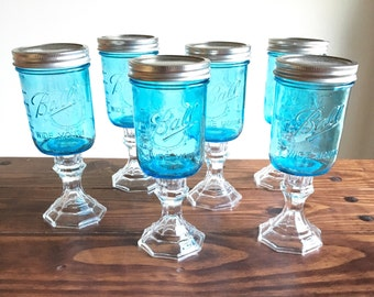 Blue Ball Mason Jar Wine Glasses Redneck Wine glasses
