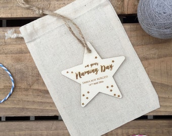 Naming Day Gift // Engraved Plywood Star // Hanging Ornament